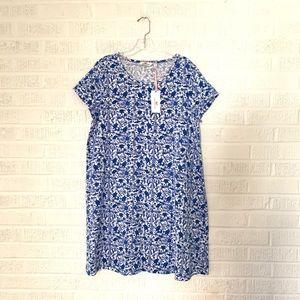 NWT $98 Vineyard Vines Blue Print Tshirt Dress L